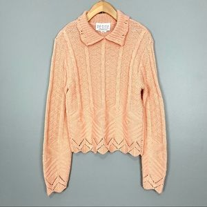 Vintage Peter Pan Collar Sweater Pointelle Knit